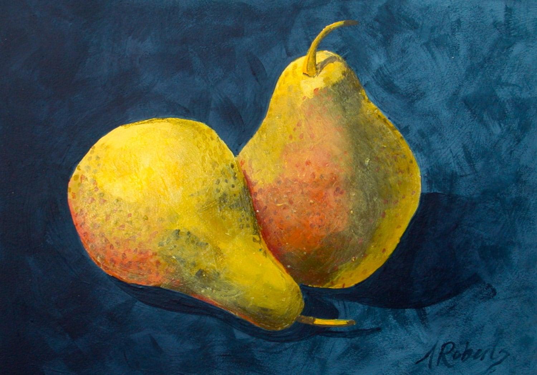 Pair of Pears PaintingStill Life Art Kitchen Decor Pear