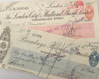 2 Vintage Bank Cheques, Barclays Bank Chegues, 1905 Vintage Cheque, 1931 Paper Cheque, Vintage Ephemera