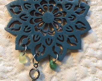 laser cut wood flower necklace