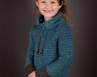 Crochet Sweater pattern, Children, top down crochet sweater pattern, cowl neck sweater, easy crochet pattern,