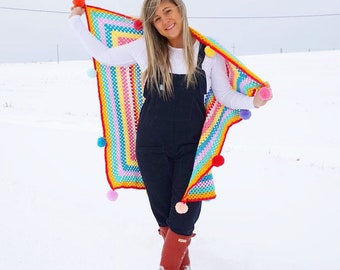 Pom pom crochet blanket rainbow