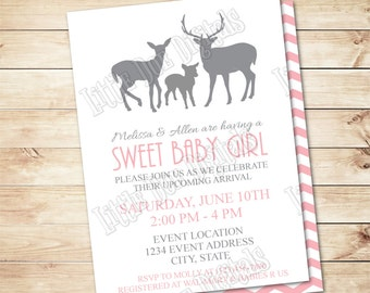 Personalized DEER FAMILY Baby Shower Invitation with back- Digital File - Girl Invitation - 5x7 or 4x6 - Pink & Gray