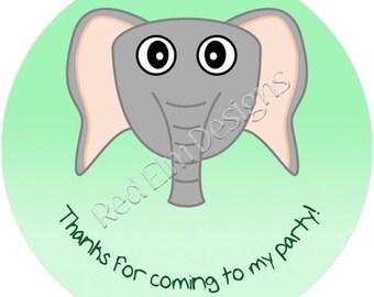 """Elephant Stickers - Sheet of 20 - 2"""" round.  Elephant Zoo Birthday Party Favors.  2 Inch Round Elephant Stickers"""