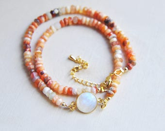 Fire Opal Necklace, Opal Necklace, Moonstone Necklace, Moonstone Jewelry, Opal Jewelry, Mexican Fire Opal, Orange Necklace, Short Necklace