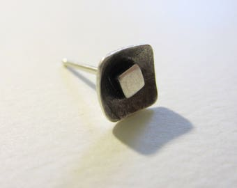 Oxidized Square Single Stud Earring silver modern geometric eco friendly 1/4 inch