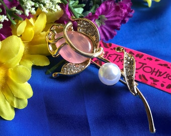 Crystal Rhinestones Brooch Mother's Day Rose Flower Brooch with Gold Gift Box- Mother's Day