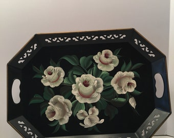 Toleware Metal Tray~ Magnolia Flower Design ~ Pilgrim Art ~ No 148 ~ Black Green & White ~ Serving Tray ~ Decorative Tray ~ Vintage