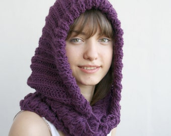 Purple Wool Hooded  Chunky Infinity LOOP Scarf  Cowl Mothers Day gift Under USD75