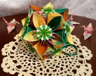 Leafeon Inspired Origami Kusudama Flower Ball