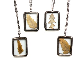 Real Pressed Fern Necklace Fern Jewelry Nature Jewelry Terrarium Jewelry Fern Pendant Pressed Flower Mother's Gift Dandelion Leaf Pendant