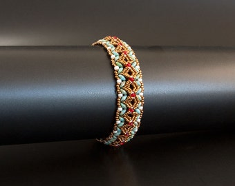 Bronze Beaded Bangle Bracelet with Swarovski Crystals in Red and Glass beads in Green Turquoise and White. Embellished Textured Bangle S249