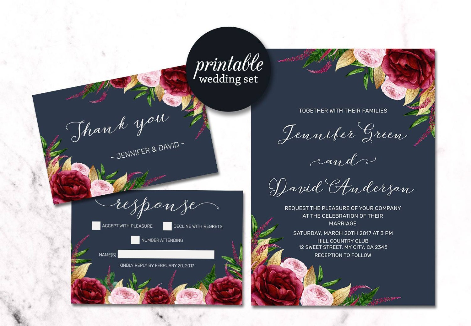 Navy floral wedding invitation burgundy wedding invitation for Floral wedding invitations canada
