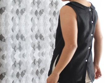 Woman linen blouse, peter pan collar, woman linen shirt, woman office clothing, Mothers day, sleeveless blouse, summer blouse, linen clothes