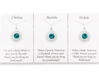 Teal Bridesmaid Necklace, Blue Zircon Swarovski Crystal Bridal Necklace, Teal Swarovski Crystal Bridesmaid Pendant Necklace, Teal Jewelry