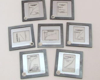 7 Vintage Glass Slides - charts and graphs - scientific - science - black and white - 35mm slides - vintage slides