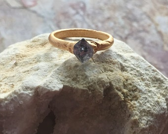 Herkimer Diamond ring / Matte Gold Herkimer Diamond Ring / Ring Size 6.5