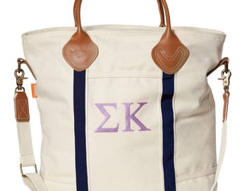 SK Sigma Kappa Sorority Embroidered Cotton Canvas Flight Bag