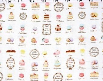 Japanese Fabric Yuwa Macaron Petit Sweets Cotton - pale cream - fat quarter