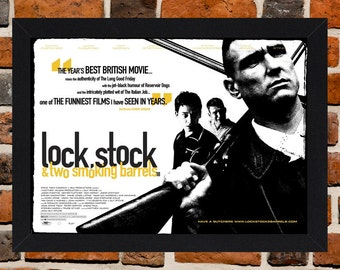 Framed Lock, Stock and Two Smoking Barrels Cult British Crime Movie / Film Poster A3 Size Mounted In Black Or White Frame