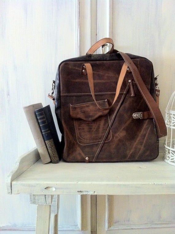 Brown leather bag, 15 inch laptop bag, office bag, school bag, student's bag, handmade bag, custom bag, leather bag