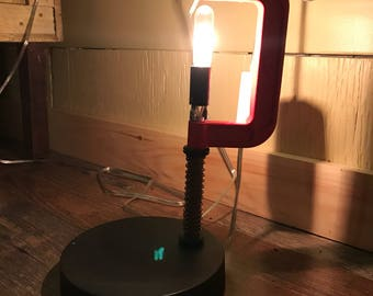 C- clamp table lamp