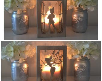 Lost Boy and Fairy metal candleholder- Lantern, Centerpiece, Home deco, utensil holder