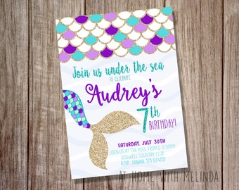 Mermaid Birthday Invitation, Mermaid Invitation, Birthday Party, Under the Sea, Purple and Teal, Mermaid, Girls Birthday, DIGITAL FILE ONLY
