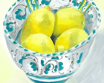 Bowl of Lemons Greetings Card