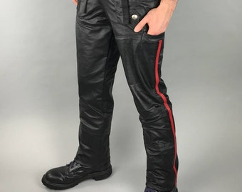 Military officer style mens red stripe leather trousers. Dom clothing, goth, fetish, uniform, BDSM, kink, club wear, fetish fashion