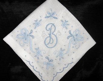 Something Old Wedding, Initial Handkerchief, Letter B M H A L or R Monogrammed Hankerchief, Vintage Bridal Hankie