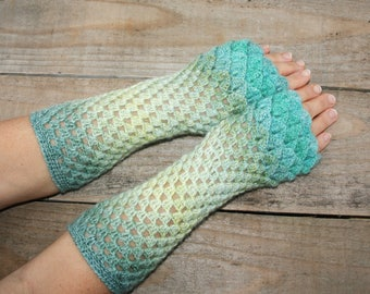 Dragon scale gloves Crochet wrist warmers Knit arm warmers Dragon gloves Fingerless gloves Driving gloves Ladies winter gloves Batik colour