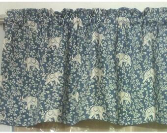 Window Curtain Valance Elephant Walk color Blue