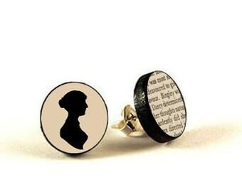 Emma Jane Austen - handmade stud earrings - decoupage