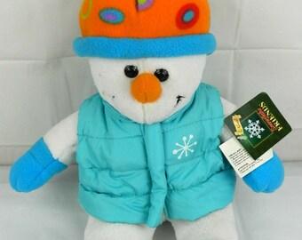 """Snowman stuffed animal in vest hat 14"""""""