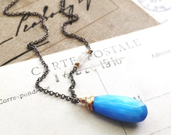 O c e a n...Blue cats eye quartz, moonstone, gunmetal and gold, boho, chakra, protection necklace FREE SHIPPING