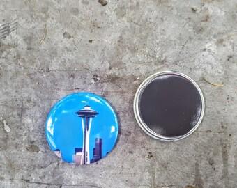 "Magnet or Pinback 2.25"" 58mm Space Needle Seattle PNW Button Fridge Magnet"