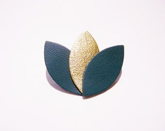 Brooch large teal and gold leather petals