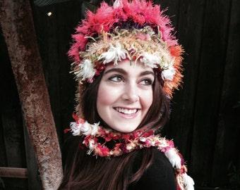 Multicolor, multi texture crochet hat with braids