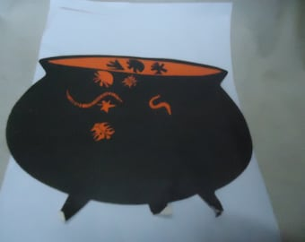 Vintage Witches Cauldron Cardboard Cut Out, collectable