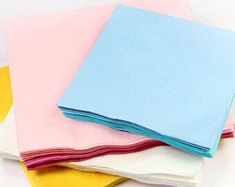 100 - Colored Napkins - Blank Napkins, Beverage Napkins, Luncheon Napkins, Guest Napkins
