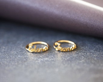 Custom name ring, personalized name ring, Mothers Day Gift , Stackable name ring - Custom Stacking ring - Gold Name Ring - Silver Name Ring