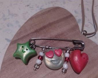 Brooch Star-smiley-heart ~ Broche Star Heart-Handmade