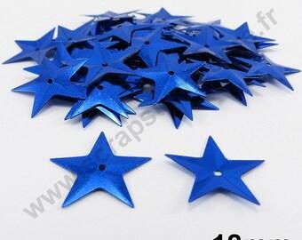 Sequin glitter - Star Blue - 18mm - 30 x