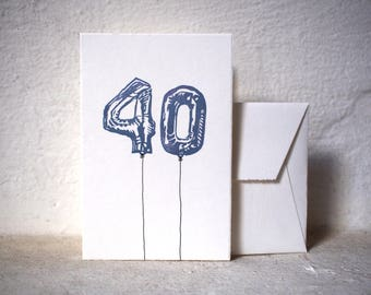 """Handprinted Birthday Card - balloon numbers - 10x15cm/A6/4x6"""" // Greeting card for  family, friends, anniversaries"""