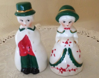 Vintage  Country Carolers People Bell Figurine of Girl and Boy Red and Green- Christmas Bells