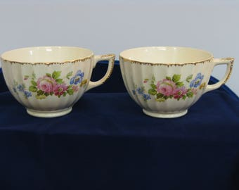 Vintage Limoges-American china tea cups with scalloped sides and gold trim