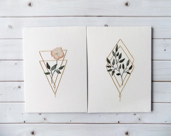 Hand Embroidery pattern PDF bundle / Serenity Figure 1 & 2 / by StitchFloral / embroidery tutorial, digital download