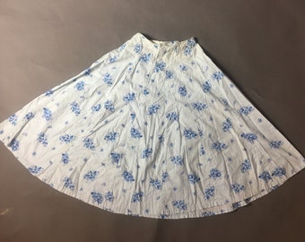 Vintage 50s skirt / 1950s skirt / floral skirt / cotton skirt / full skirt / circle skirt / 8505