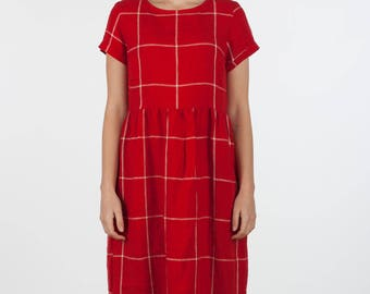 Cardinal red Linen, short sleeved, full length dress