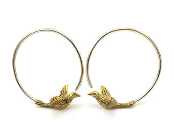 Small Hoop Earrings -  Blue Bird Earrings - Gift for Birder
